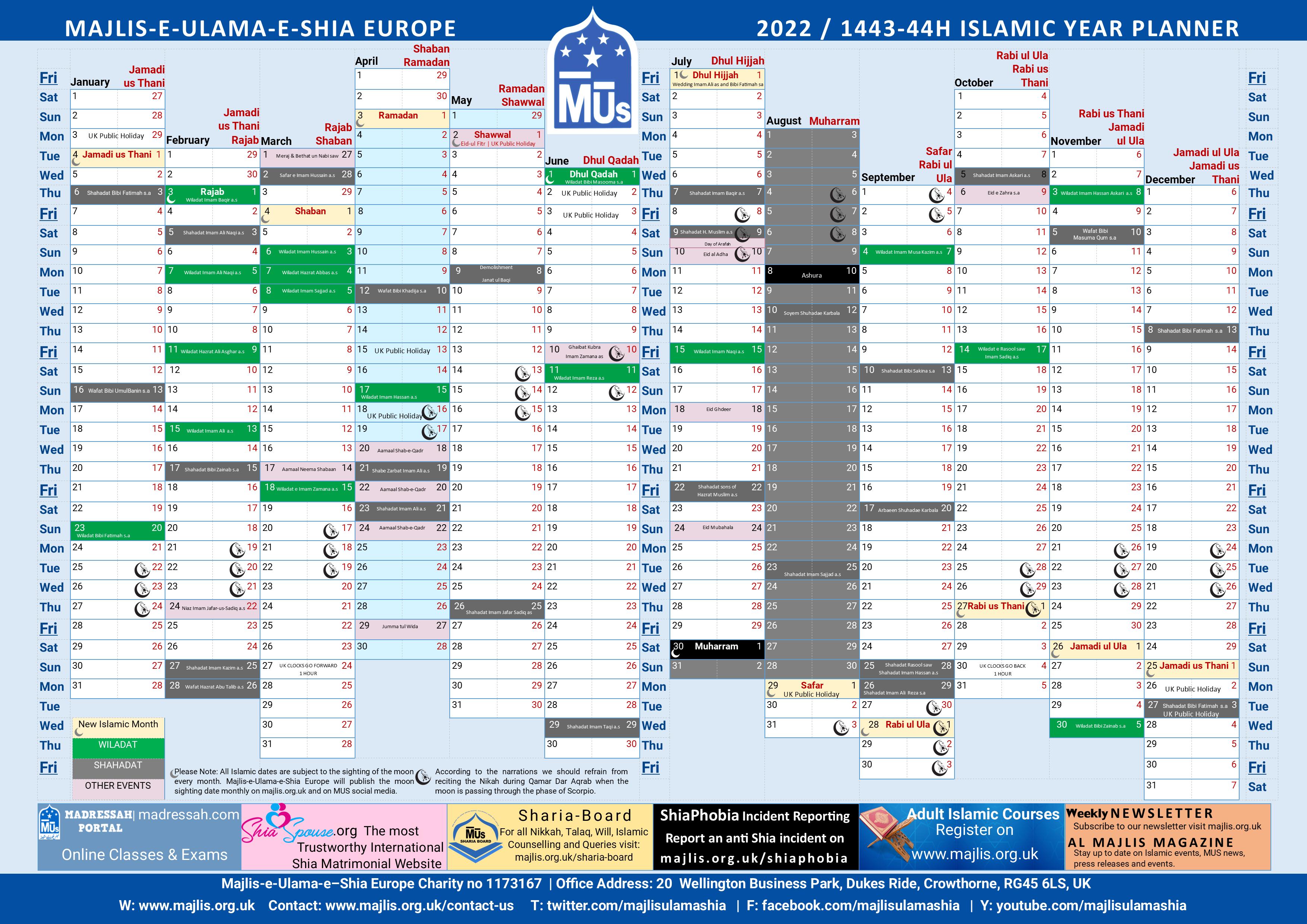 Shia Islamic Calendar 2022